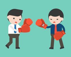 Twee zakenman vechten met bokshandschoenen, platte ontwerp vector