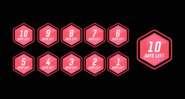 Aantal resterende dagen countdown in roze zeshoek moderne technologie stijl eenvoudig ontwerp vector
