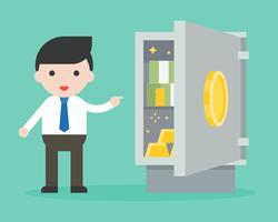 Zakenman die bankbiljet en goud in veilige doos toont vector
