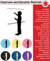 Schoolstudent, leraar, silhouet, stripfiguren, jongen, meisje, man, vrouw, leraar, schoolbenodigdheden, briefpapier - eps, vector