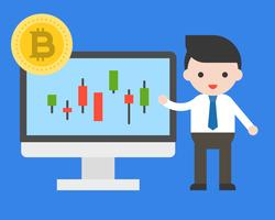 Zakenman huidige kaarsstaaf van bitcoin, cryptocurrency analyse bedrijfsconcept