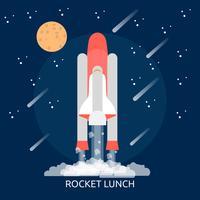 Raket lunch conceptuele afbeelding ontwerp vector