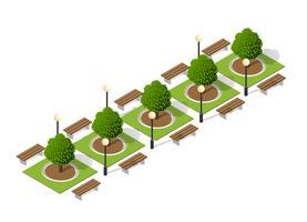 Bomen van een bank in het park