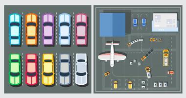 Bovenaanzicht van vliegtuigen vector
