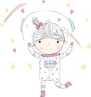Schattige baby meisje in de ruimte