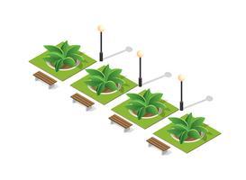 Parkeer de natuur met bomenlandschap vector