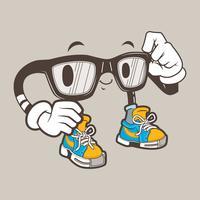 coole nerd bril mascotte vector