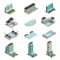Luxe Hotel Gebouwen Isometrische Pictogrammen