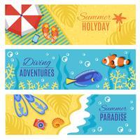 Zomervakantie vakantie horizontale banners instellen vector