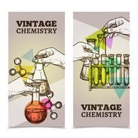 Chemie laboratorium vintage verticale banners instellen