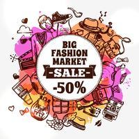 Hipster mode kleding korting doodle pictogram vector