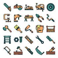 Timmerman pictogrammen pack vector