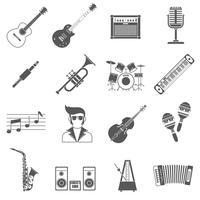 Muziekpictogrammen zwarte set