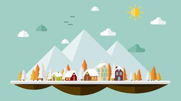 Platte ontwerp van de natuur Landschap achtergrond vector