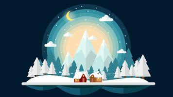 Platte ontwerp nacht van winterlandschap achtergrond vector