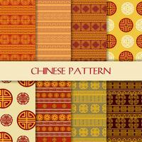 Mooie naadloze Chinese patroon vastgestelde achtergrond