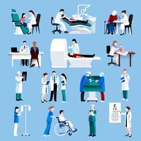 Medische zorg mensen fllat pictogrammen instellen