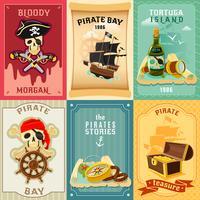 Piraat plat pictogrammen samenstelling poster vector