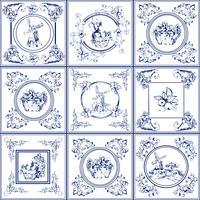 Beroemde delft blauwe tegels iconen collectie vector