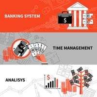 Financiën bedrijfs horizontale vlakke geplaatste banners vector