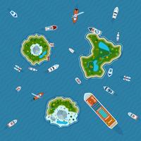 Schepen rond eilanden bovenaanzicht