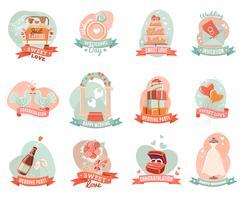 Huwelijkshuwelijk verloving emblemen stickers instellen