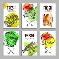 Kaarten met groenten vector