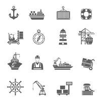 Zeehaven pictogrammen vector