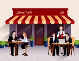 Straat café klanten platte banner illustratie vector