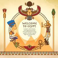 Egyptische achtergrond met frame vector