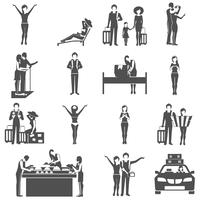 Internationaal toerisme die zwarte geplaatste pictogrammen reizen