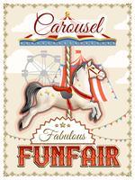 Retro carrousel Poster vector