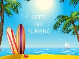 Zomer reizen Poster surfplanken achtergrond vector