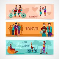 Hipster mensen platte banner instellen vector
