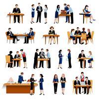 Zakelijke lunchpauze vlakke pictogrammen collectie vector