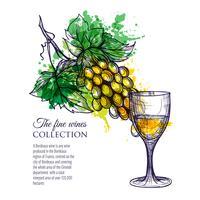 Glas witte wijn met takdruiven