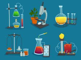 Ontwerp Icons Set van laboratoriumapparatuur