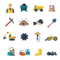 Mijnbouw pictogrammen plat