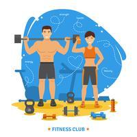 Fitness paar concept vector
