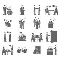 Mensen praten plat zwarte pictogrammen