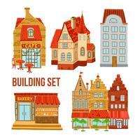 Oude stad gebouwen instellen vector