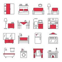Meubelslijn Icons Set vector