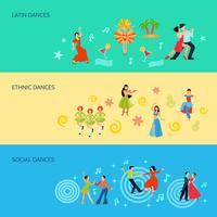 Horizontale banners met platte dansstijl vector