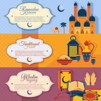 islam geplaatste banners vector