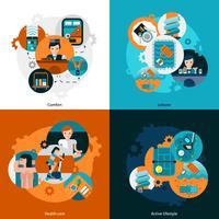 Resort Hoteldiensten Icons Set vector