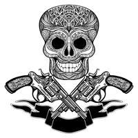 Gekruiste wapens met ornamenten lint en schedel