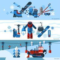 Drie platte horizontale skiërspanners