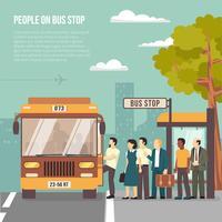 Stadsbushalte vlakke poster vector