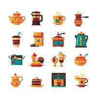 Coffe en theeset pictogrammen plat