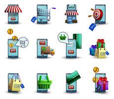 Mobiele handel m-handel 3d geplaatste pictogrammen